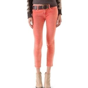 Free People Peach Velvet Cropped Pants Size 27